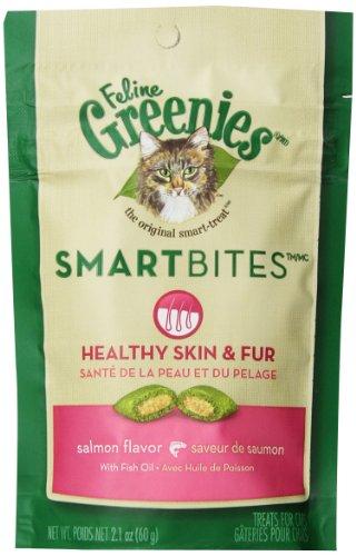 Feline Greenies 6-Pack Feline Smart Bites Treat, Skin And Fur Salmon, 2.1-Ounce