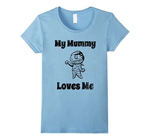 Womens My Mummy Loves Me Funny Ghost Halloween T-Shirt for Kids Medium Baby Blue (Mummy Loves Me Baby Costumes)