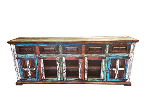 Hi End Rustic Medieval Hand Scrape TV Stand Buffet 80 Inch Long (80 inch, - Distressed Finish Pine