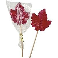 North Hatley Cherry Lollipops - Maple Leaf Shape (10 Red lollipops)