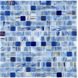 Sky blue Gold Line Hand Painted Glass Tile Perfect for Kitchen Backsplashes,Shower wall and Swimming pool tiles, TCRR021 (Box of 10.76 sq (Swimming Pool Glass Tile)
