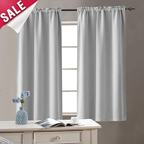 Grey Room Darkening Curtains for Living Room 63 inches Long