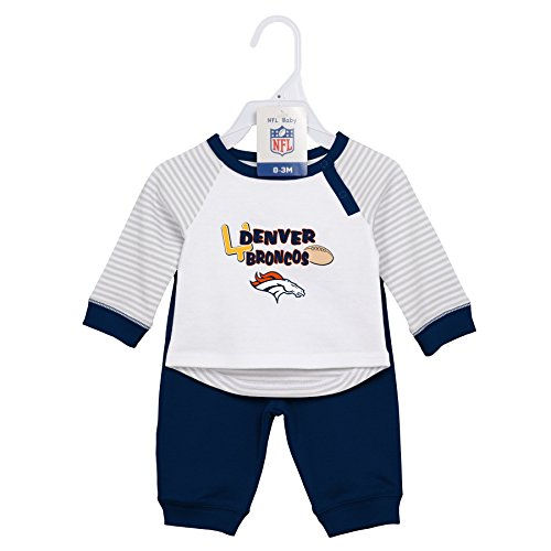Layettes Two Piece - NFL Newborn Scrimage 2 Piece Shirt and Pants Set, Denver Broncos, Orange, 6 Months