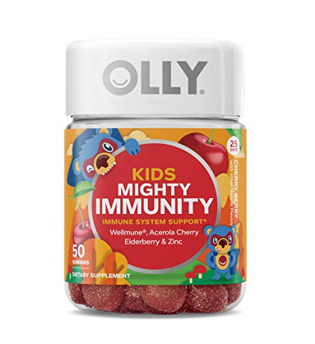 OLLY Kids Mighty Immunity Gummy Supplement with WELLMUNE; Cherry Berry; 50 count (25 day supply)
