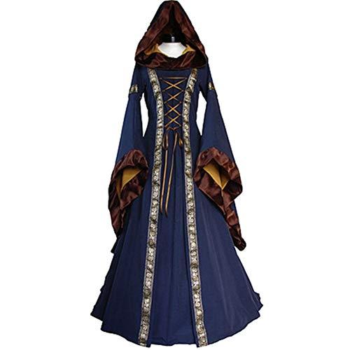 Women Witch Renaissance Victorian Dress Prom Halloween Costume Cosplay Maxi Ladies Vintage Bandage Long Sleeve Dress(M,Blue) ()