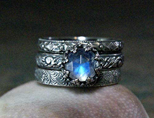 - Vintage Inspired Blue Moonstone Stacking Rings in Sterling Silver