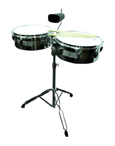 Timbale Drum Set w/ Stand & Cowbell by GP Percussion