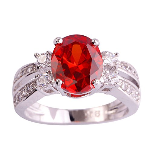 Veunora 925 Sterling Silver Created Garnet Filled Promise Engagement Ring for Women