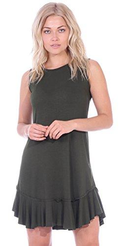 Dresses Knit Casual (Popana Women's Casual Summer Tank Midi Dresses Knee Length Beach Sundress Made in USA - Olive Medium)