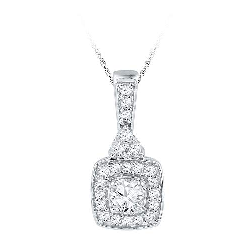 Jewel Tie Solid 10k White Gold Round Diamond Solitaire Square Framed Pendant (1/2 Cttw.)