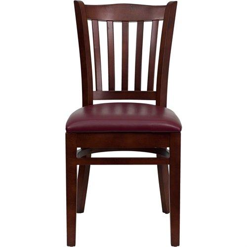 Flash Furniture HERCULES Series Vertical Slat Back Mahogany Wood Restaurant Chair - Burgundy Vinyl Seat
