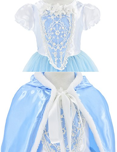 Princess Snow Queen Elsa Costumes Fancy Party Birthday Dress Up For Girls with Accessories 4-5 Years(110cm) by Party Chili (Image #6)