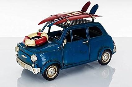 cuorematto – Modelo Fiat 500 de metal de color azul vintage detaggliata con tablas de surf