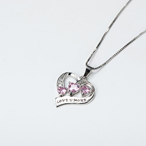 YFN Engraved Love You More Sterling Silver Pink Jewelry Crystal Eternity Heart Necklace (Pink Heart) by YFN (Image #2)'