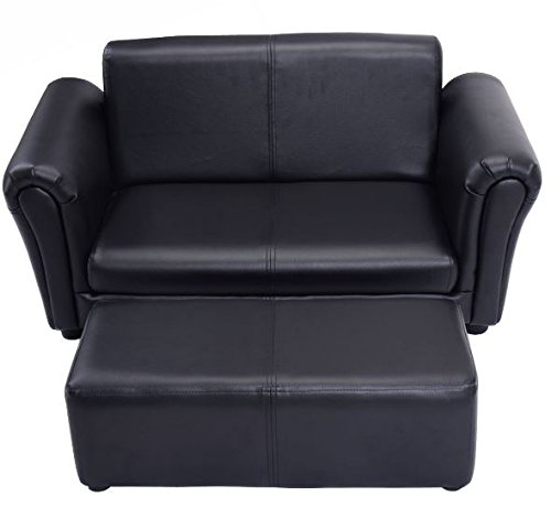 K&A Company Double Sofa Pu Leather Couch Kid Toddler Armchair Recliner Furniture Lounge Kids with Ottoman Black