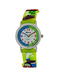 Ravel Time Teacher Boys 3D Train Design Green Strap Watch + Telling Time Award