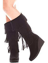 Womens Young Aloud TOP FRINGE LOOK FRONT LACE DESIGN FAUX LEATHER MATERIAL KNEE HIGH BOOTS Factory Outlet Size 40