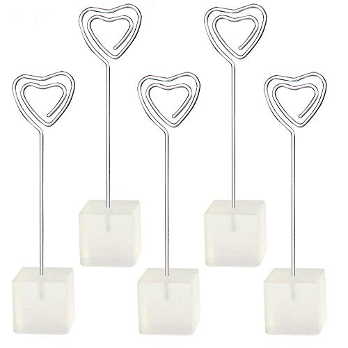 Yootop 5Pcs Clear Cube Base Heart Shape Table Number Holders Place Card Paper Menu Clips Memo Photo Holder Stands - Heart Shaped Place Card Holders