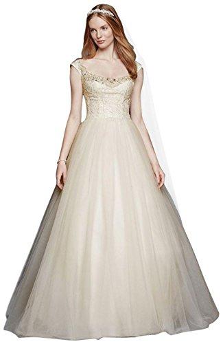 David's Bridal Oleg Cassini Embellished Tulle Wedding Dress Style CWG733, Ivory, 0