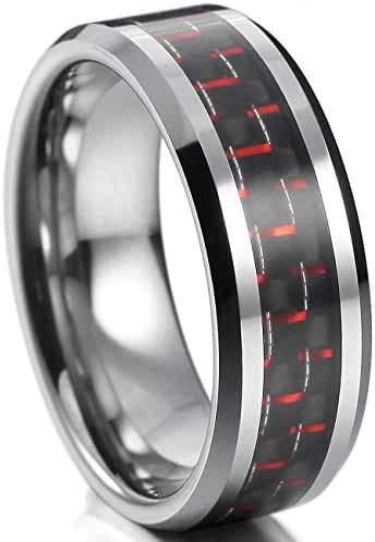 MOWOM Silver Tone Red Black Wide 8mm Tungsten Carbon Fiber Ring Comfort Fit Band