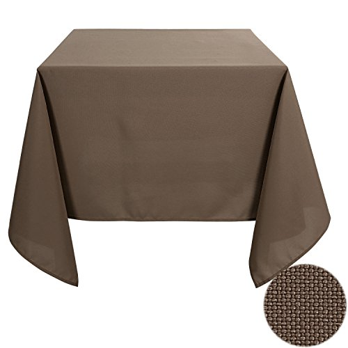 Square Rectangular Dining Tables (Deconovo Solid Oxford Square Water Resistant Tablecloth For Dining Room 54 by 54 Inch Brown)