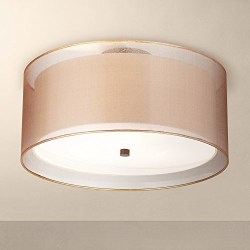 Possini Euro Double Drum 18 Quot Wide Bronze Ceiling Light
