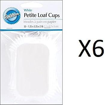 Wilton Bulk Buy Baking Cups White Petite Loaf 50 pack (6-Pack)
