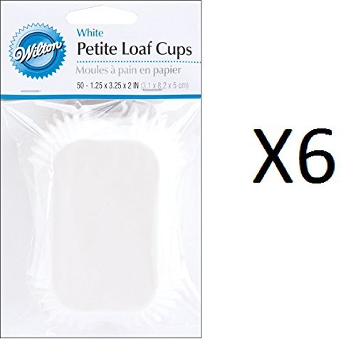 Wilton Bulk BuyBaking Cups White Petite Loaf 50 pack (6-Pack)