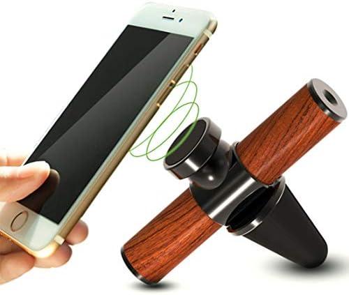 YIKETING 磁気車両マウント電話ホルダーエアベントまたはダッシュボードは梨の木を使って構築し、すべてのQi対応デバイスは電話マウント (色 : 黒)