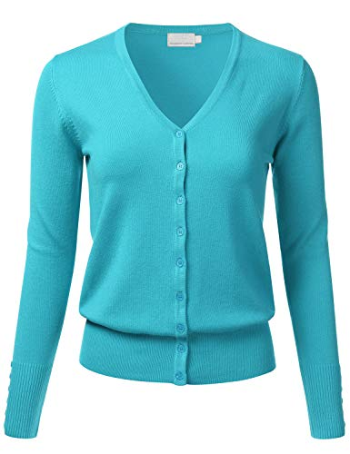 FLORIA Women's Button Down V-Neck Long Sleeve Soft Knit Cardigan Sweater AQUA2 S