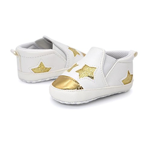Omiky® Baby Girl Boys herzförmige Stickerei Hight Cut Schuhe Sneaker Anti-Rutsch Soft Sole Kleinkind Gold