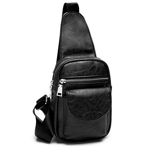 T-FBW Men's handbag Bolso bandolera Sling Bag - Bolso bandolera casual de moda coreana Bolso bandolera PU (Color : Azul) Negro