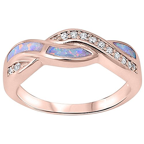 Twisted Crisscross Infinity Ring Lab Created Opal Round CZ 925 Sterling Silver Choose Color (Rose Tone, Created White Opal, 5) ()