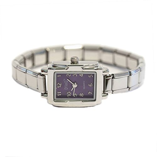 Purple Rectangle Italian Charm Watch