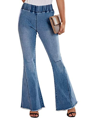 Aeumdr Women's Juniors Trendy Wide Legs Jeans High Rise Flare Jean Distressed Bell Bottom Denim Pants Size S Multicolor