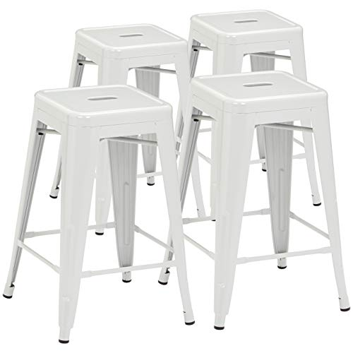 Pioneer Square Haley 24-Inch Backless Square-Seated Counter-Height Metal Stool, Set of 4, Industrial Grey