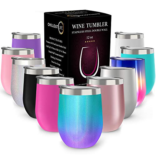 (CHILLOUT LIFE 12 oz Stainless Steel Tumbler with Lid & Gift Box | Wine Tumbler Double Wall Vacuum Insulated Travel Tumbler Cup for Coffee, Wine, Cocktails, Ice Cream - Mermaid Sparkle)