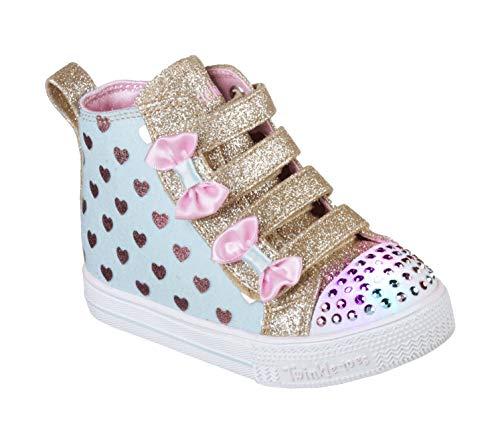 (Skechers Kids Girls' Shuffle LITE-Fancy Flutters Sneaker, Light Blue/Pink, 10 Medium US)