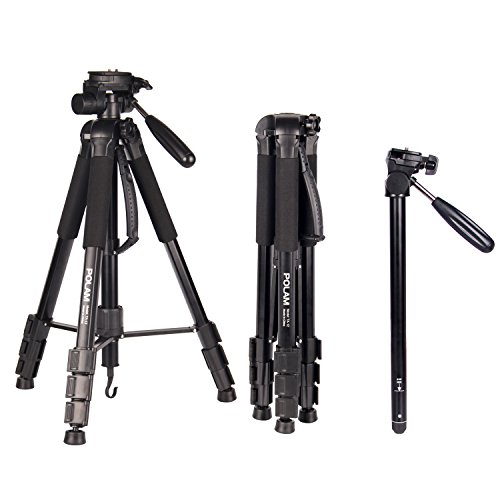 POLAM-FOTO 70″/176.5cm 2-in-1 Tripod Monopod-Camera Tripod Aluminum Travel Tripod with Bag for Canon/Nikon/Sony DSLR/SLR Camera