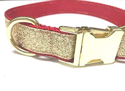 Big Pup Pet Fashion Red + Gold Glitter Christmas Dog Collar with Gold Hardware (Medium 1