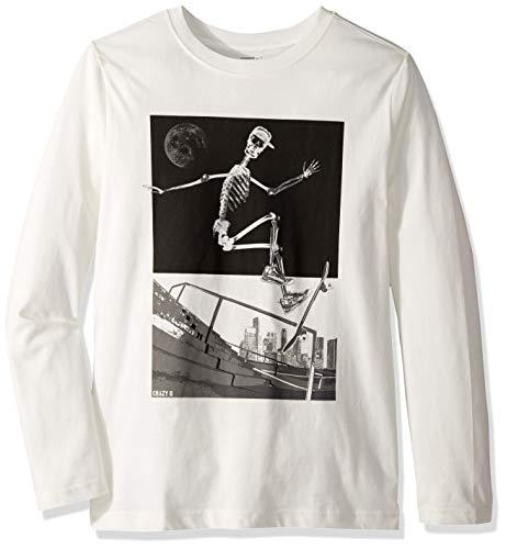- Crazy 8 Boys' Big Long Sleeve Graphic Tee, White Skeleton Skateboarder, XL