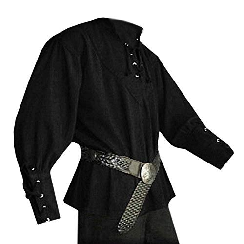 Karlywindow Men's Medieval Lace Up Pirate Mercenary Scottish Wide Cuff Shirt Costume Black]()