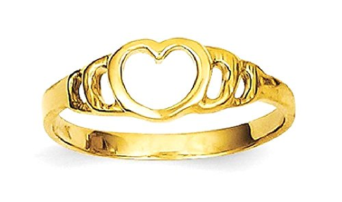 ICE CARATS 14k Yellow Gold Heart Baby Band Ring Size 3.00 Fine Jewelry Gift Set For Women Heart