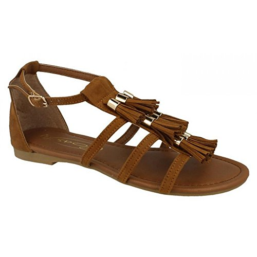 Microfibre Sandals D Style Fringe Spot Ladies Tan F0962 On WtnqZ8BRBw