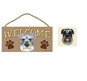 "5"" x 10"" Schnauzer Welcome Wooden Plaque Sign + Adorable Schnauzer Dog Fridge Magnet"