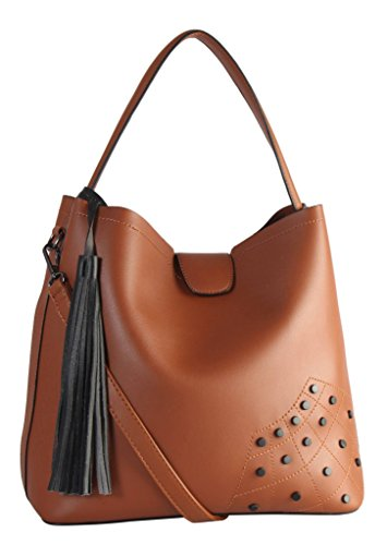 2 Leather 6553 Set Hobo Studded Black PU Diophy Brown XS1 D��cor with Tassels Pieces R7w58nxHq