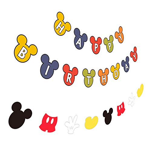 Mickey Happy Birthday Banner with Garland, Party Sign Decoration for Baby Kid -