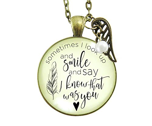 Gutsy Goodness Memorial Necklace Sometimes I Look Up Womens Grief Jewelry Angel Wing Charm 36""