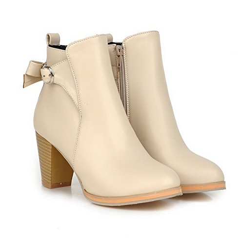 Chunky AdeeSu apricot Buckle Zipper Leather Imitated Boots Back Ladies Heels Zw1qxg5