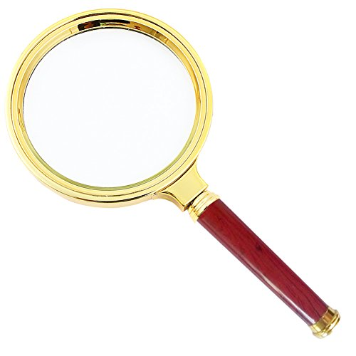SDMH magnifying glass, 10X old man reading hand-held magnifying glass, jewelry jade identification, imitation red wood handle, insect and hobby observation - Imitation Glasses